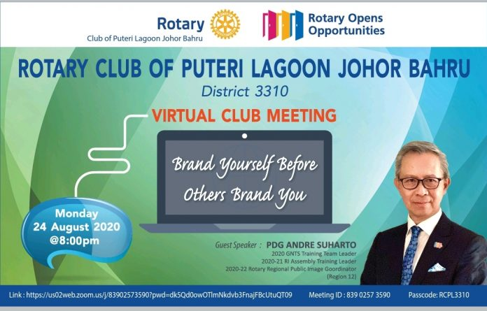 Rotary Club's Past District Governor, Andre Suharto promotional poster by Rotary Club of Puteri Lagoon JB