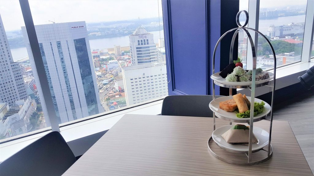 Three-tier hi-tea set for one pax and look at the view!