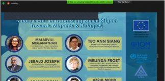 "Banner of the AIBD/IOM Regional Webinar on ""Media's Role in Addressing Social Stigma towards Migrants and Refugees in the Context of COVID Pandemic"""