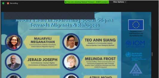 """Banner of the AIBD/IOM Regional Webinar on """"Media's Role in Addressing Social Stigma towards Migrants and Refugees in the Context of COVID Pandemic"""""""