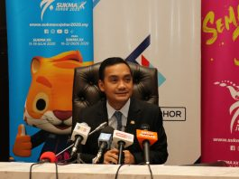 Johor State Tourism, Youth and Sports Committee chairman, Datuk Onn Hafiz Ghazi during the SUKMA XX postponement announcement